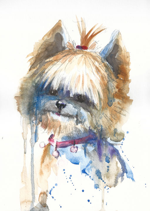 """Painting titled """"YORKSHIRE TERRIER #2"""" by Anna Bloomfield-Ravliuc, Original Art, Watercolor"""