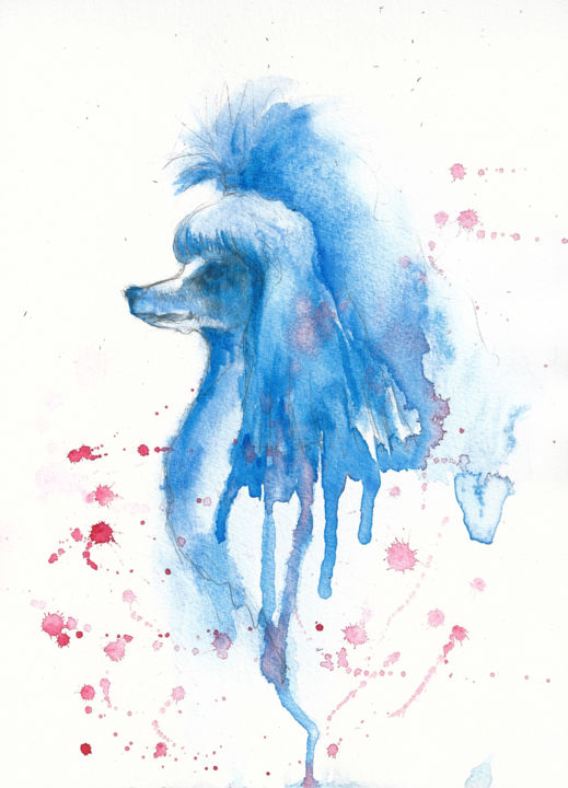 """Painting titled """"POODLE #1"""" by Anna Bloomfield-Ravliuc, Original Art, Watercolor"""