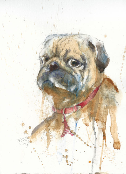 """Painting titled """"PUG #1"""" by Anna Bloomfield-Ravliuc, Original Art, Watercolor"""