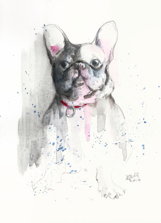 """Painting titled """"French Bulldog. Mon…"""" by Anna Bloomfield-Ravliuc, Original Art, Watercolor"""