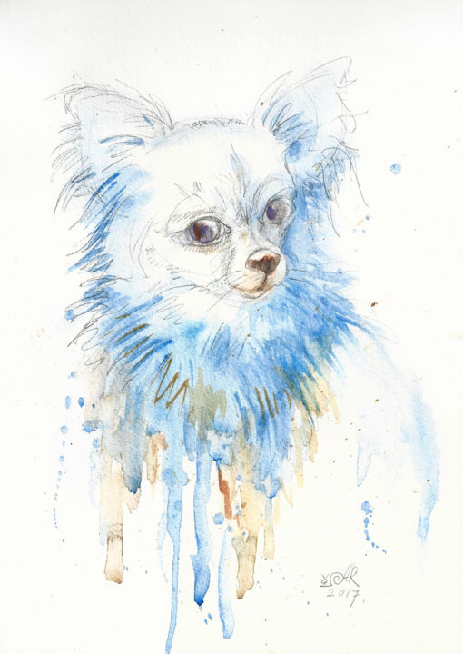 """Painting titled """"Chihuahua. Mi amor…"""" by Anna Bloomfield-Ravliuc, Original Art, Watercolor"""