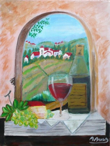 Vino di campagna - Painting,  15.8x11.8 in, ©2008 by Anna Arvonio -