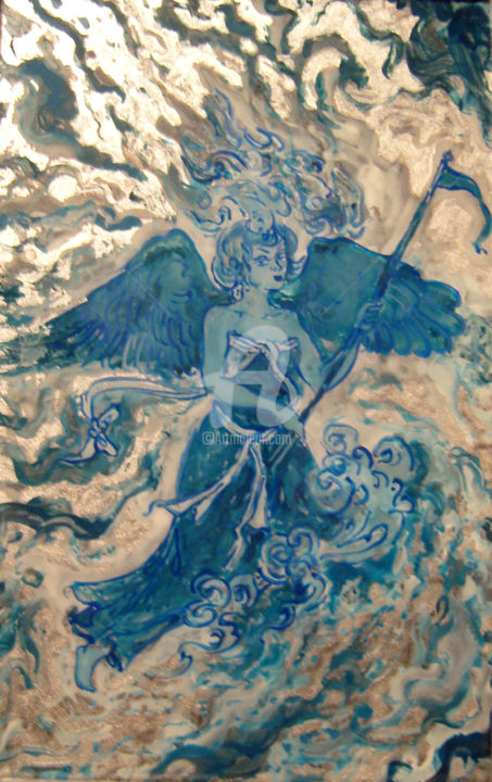 Ange de la paix - Painting,  5.9x3.9 in, ©2013 by Anna Amini -                                                                                                                                                                                                                                                                                                                                                                  Figurative, figurative-594, Glass, Spirituality, anges, peinture sous verre, reverse painting on glass