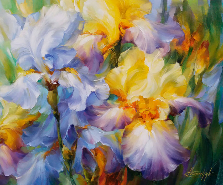 """""""Blue and yellow"""" - Painting,  19.7x23.6x0.8 in, ©2019 by Anna Khomchyk -                                                                                                                                                                                                                                                                                                                                                                                                                                                                                                                                              Expressionism, expressionism-591, Botanic, Flower, Garden, Nature, iris, blue, yellow, spring, light"""