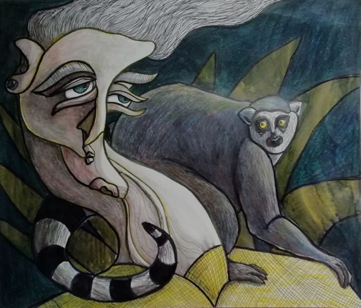 Exotic beast. - Drawing,  11.7x13.8 in, ©2019 by Anna Reshetnikova -                                                                                                                                                                                                                                                                                                                                                                                                                                                                                                                                                                                                                                                                                                                                                                                                                      Surrealism, surrealism-627, Animals, People, Portraits, lemur, catlemur, woman, exotic, beast, tropical, yellow, surrealistic, portrait, surreal, surrealism, mixedmedia