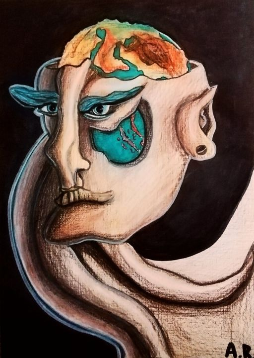 The world in my eyes - Drawing,  11.7x8.3 in, ©2020 by Anna Reshetnikova -                                                                                                                                                                                                                                                                                                                                                                                                                                                                                                                                                                                                                                                                                  Surrealism, surrealism-627, Fantasy, People, Portraits, World, Globe, Earth, Portrait, Surrealism, Surreal face, Unisex, Mixedmedia, Drawing