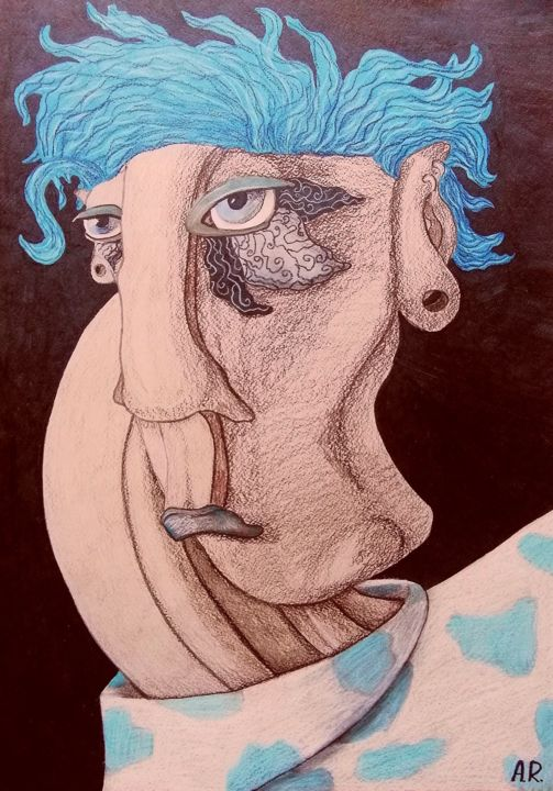 Feeling blue - Drawing,  23.4x16.5 in, ©2020 by Anna Reshetnikova -                                                                                                                                                                                                                                                                                                                                                                                                                                                                                                                                                                                                                                      Illustration, illustration-600, People, Portraits, Women, Unisex, Blue mood, Blue hair, Blue haired, Illustration, Fashion, Woman face, Blue and beige