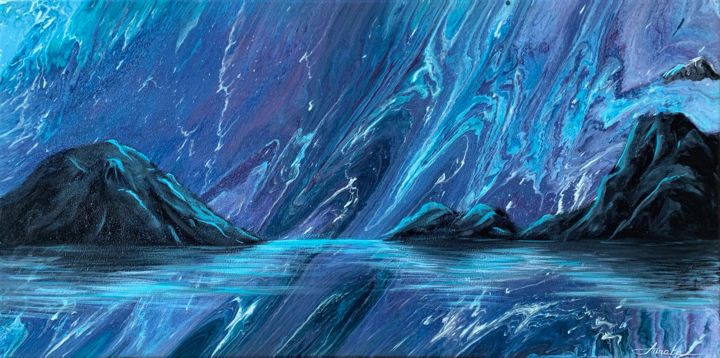 Fata Morgana - Painting,  19.7x39.4x0.8 in, ©2019 by Annata -                                                                                                                                                                                                                                                                                                                                                                                                                                                                                                                                                                                          Abstract, abstract-570, Landscape, blue, navy, abstract, landscape, water, sky, mountains, aurora, combination