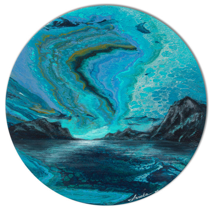 Aurora - Painting,  23.6x23.6x0.8 in, ©2019 by Annata -                                                                                                                                                                                                                                                                                                                                                                                                                                                                                                                                                                                                                                      Abstract, abstract-570, Landscape, aurora, blue, teal, sky, mountains, water, fluid, acrylic, abstract, landscape