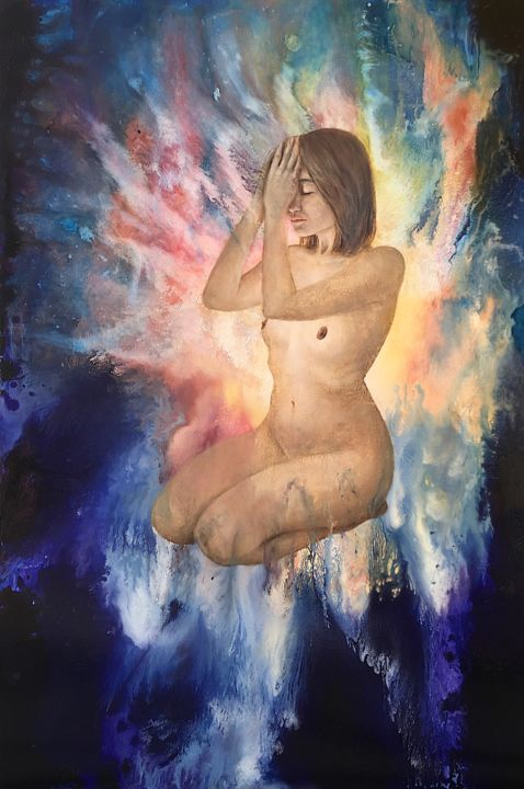 """Painting titled """"Prayer"""" by Annata, Original Art, Acrylic Mounted on Stretcher frame"""