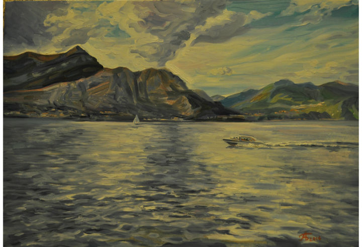 Lake of Como 1 - Озеро Комо 1 - Painting,  40x50 cm ©2016 by Anna Bogomolova -                                                                                    Realism, Canvas, Landscape, Water, Places, Nature, Природа, Water, Вода, Montains, Горы