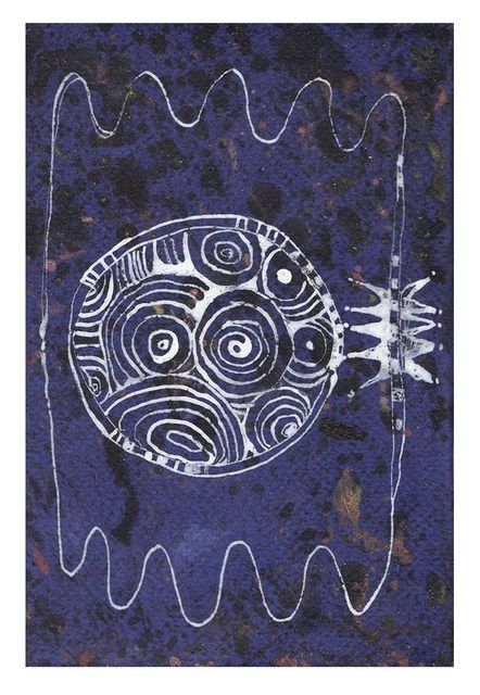 Full moon - Painting,  6.3x4.3 in, ©2011 by Anni Boreiko -                                                              Moon