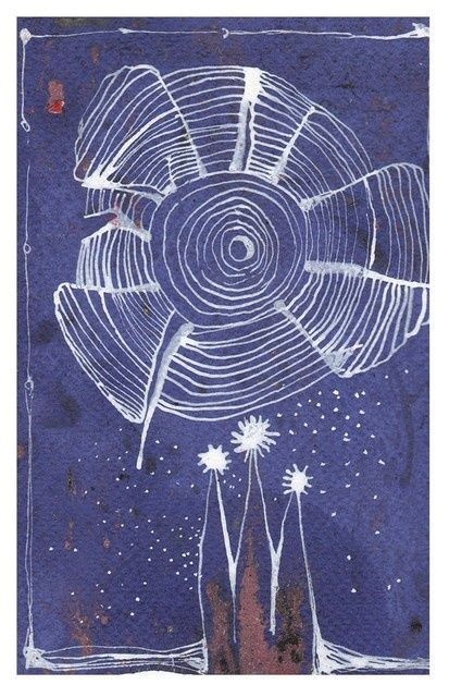 Temple of starshine - Painting,  6.3x4.3 in, ©2011 by Anni Boreiko -                                                                                                          star, starshine