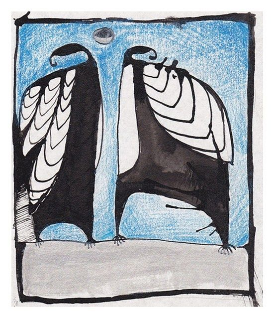 Birds - Painting,  4.3x3.5 in, ©2011 by Anni Boreiko -                                                              birds