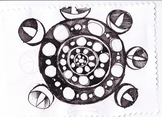 mandala3 - Drawing,  3.9x5.9 in, ©2012 by Anni Boreiko -                                                                                                                                                          Black and White, mandala, flower