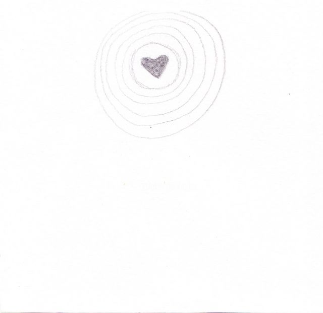 heart - Drawing,  5.9x5.9 in, ©2012 by Anni Boreiko -                                                                                                              Black and White, heart