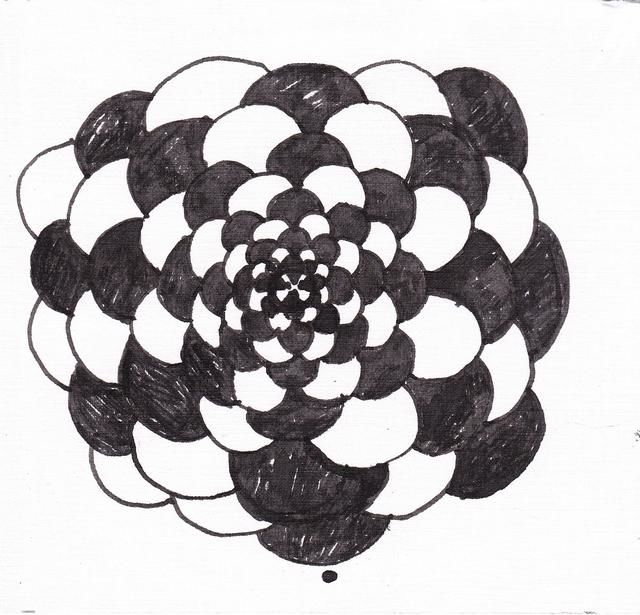 Flower 3 - Drawing,  5.9x5.9 in, ©2012 by Anni Boreiko -                                                                                                                                                          Black and White, flower, mandala
