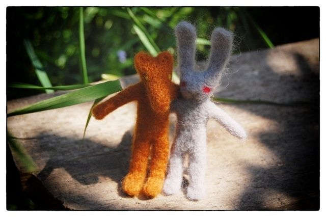 Friends - Artcraft ©2012 by Anni Boreiko -            friends, fox and rabbit