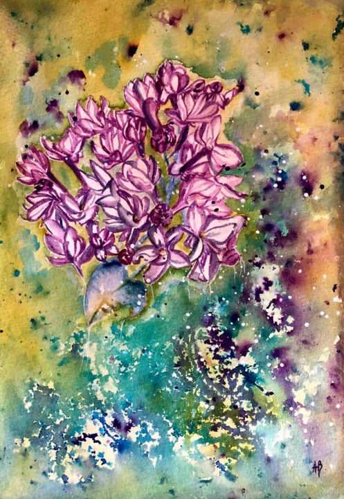 """Painting titled """"Lilas"""" by Anne Brigaud, Original Art,"""