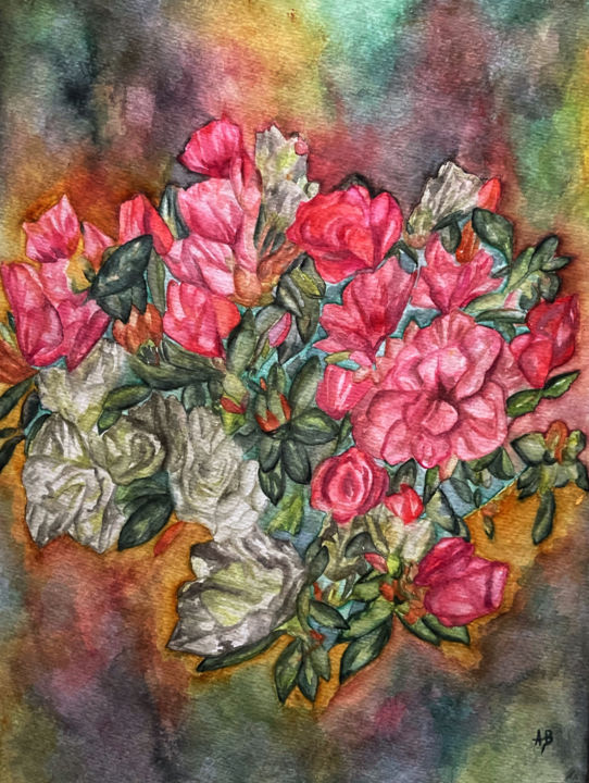 """Painting titled """"Le bouquet"""" by Anne Brigaud, Original Art, Watercolor"""