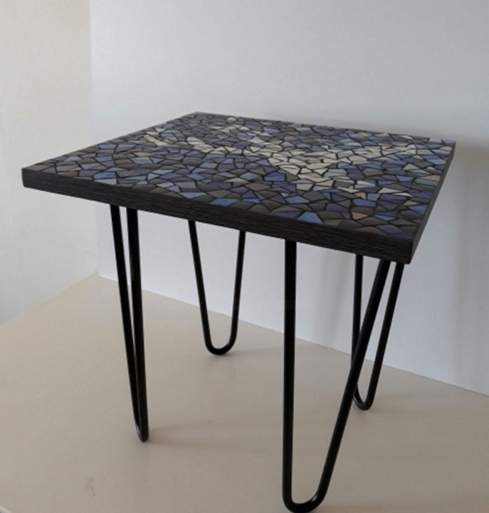 Table Basse Bleue En Mosaique Artisanat Par Signature Mosaique