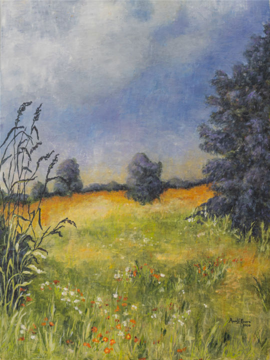 """Painting titled """"Indian Paintbrush"""" by Anne Heather Moore, Original Art, Oil"""