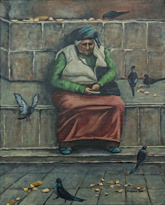"""Painting titled """"The Pigeon Lady"""" by Anne Heather Moore, Original Art, Acrylic"""