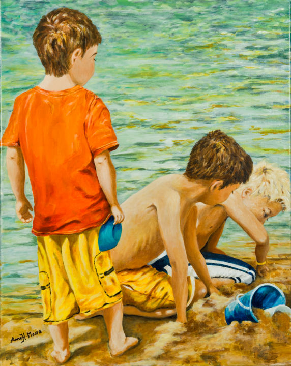 """Painting titled """"At the Beach"""" by Anne Heather Moore, Original Art, Acrylic"""