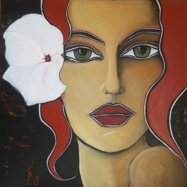 Accroche coeur - Painting,  80x80 cm ©2014 by Lô -                                        Canvas, Portraits