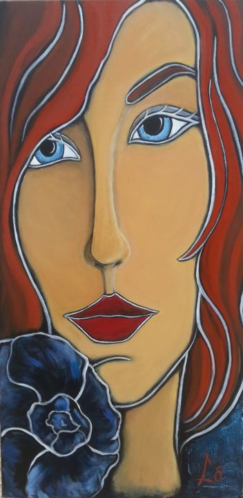 Lady blue - Painting,  39.4x19.7 in, ©2015 by Lô -                                                              Portraits