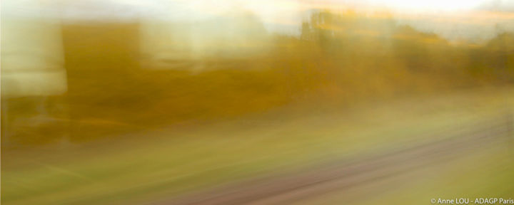 Voyage en train 1 - Photography,  3.9x9.8 in, ©2016 by Anne Lou -                                                                                                                                                                                                                                                                                                                                                                                                                                                      Abstract, abstract-570, Abstract Art, Landscape, art numérique, photographie, rails, voyage, paysage