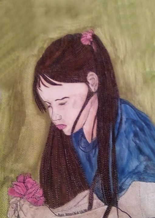 SWEET ROSE - Painting,  30x40 cm ©2018 by ANNE BAZABIDILA -                                                            Figurative Art, Paper, Kids, ENFANTS