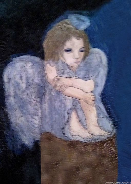 UN ANGE BLEU - Painting,  15.8x11.8 in, ©2018 by ANNE BAZABIDILA -                                                                                                                                                                          Figurative, figurative-594, Angels