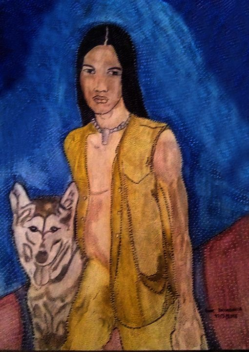 LE JEUNE INDIEN ET SON CHIEN - Painting,  40x30 cm ©2018 by ANNE BAZABIDILA -                                                        Figurative Art, Paper, Men