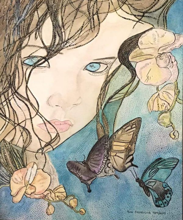AN ATTRACTIVE DOLL AMONG ORCHIDS - © 2017 femme Online Artworks