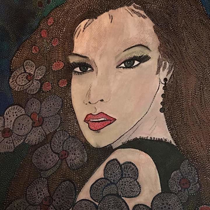 BEAUTY AND ORCHIDS - Painting,  18.9x14.2 in, ©2019 by Anne Bazabidila -                                                                                                                                                                                                                          Figurative, figurative-594, Women, femme