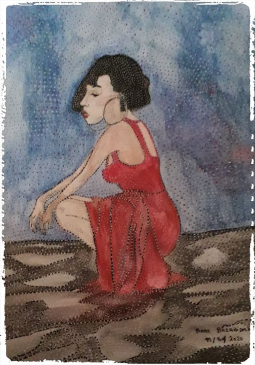SEXY GIRL - Painting,  16.5x11.4 in, ©2020 by Anne Bazabidila -                                                                                                                                                                                                                          Naive Art, naive-art-948, Women, femme