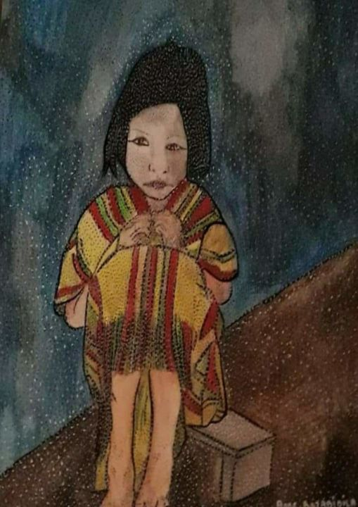 PETITE INCA - Painting,  15.4x11.4 in, ©2020 by Anne Bazabidila -                                                                                                                                                                                                                          Naive Art, naive-art-948, Kids, fille