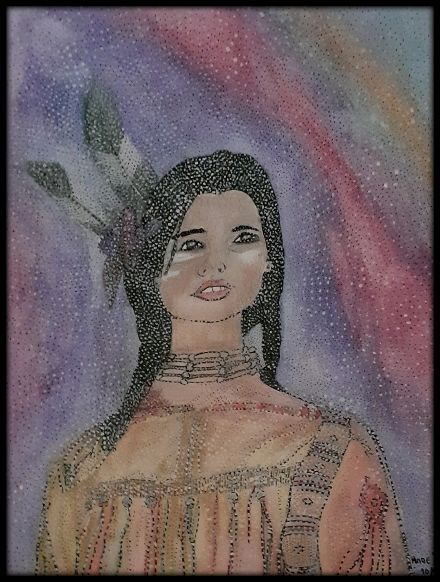 UNE SQUAW - Painting,  16.5x11.4 in, ©2020 by Anne Bazabidila -                                                                                                                                                                                                                          Naive Art, naive-art-948, Women, femme