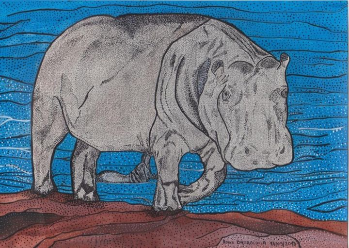 MAMAN HIPPOPOTAME ET SON BEBE - Painting,  8.3x11.4 in, ©2013 by Anne Bazabidila -                                                                                                                                                                                                                          Figurative, figurative-594, Animals, hyppopotame