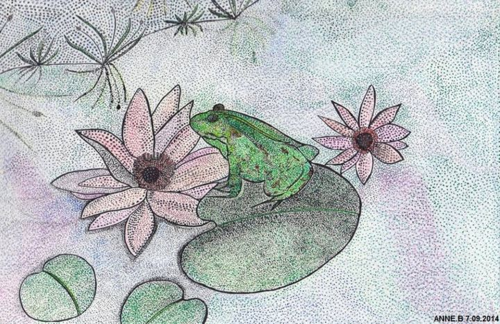 LA GRENOUILLE ET LES NENUPHARS - Painting,  8.3x9.5 in, ©2013 by ANNE BAZABIDILA -                                                                                                                                                                                                                          Figurative, figurative-594, Animals, GRENOUILLE
