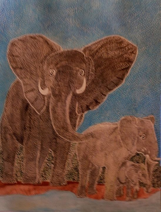 NO IN the POACHING OF THE DEFENSES D ELEPHANTS - Painting,  14.2x10.6x0.4 in, ©2014 by Anne Bazabidila -                                                                                                                                                                                                                          Figurative, figurative-594, Animals, éléphants