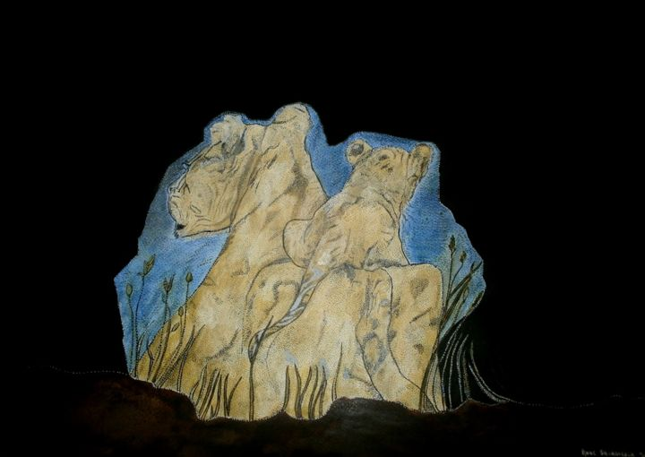 MOM LIONESS AND HIS TODDLER - Painting,  19.7x25.6 in, ©2015 by Anne Bazabidila -                                                                                                                                                                                                                          Figurative, figurative-594, Animals, LIONNE