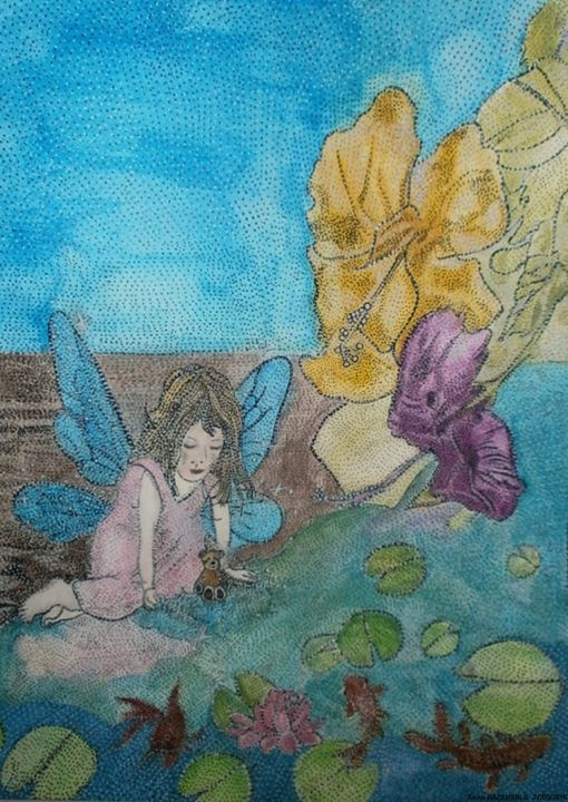 PRINCESS BUTTERFLY AND RED FISHES - Painting,  15.8x11.8x0.4 in, ©2016 by Anne Bazabidila -                                                                                                                                                                                                                                                                                                                  Figurative, figurative-594, Kids, enfant papillon, fleurs, poissons rouges