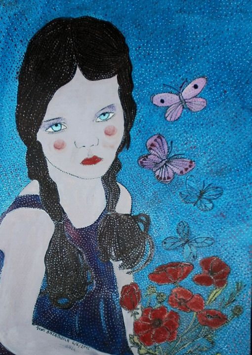 THE DOLL AND ITS POPPIES. - Painting,  15.8x11.8x0.4 in, ©2016 by Anne Bazabidila -                                                                                                                                                                                                                                                                                                                  Figurative, figurative-594, Children, Flower, fille, coquelicots