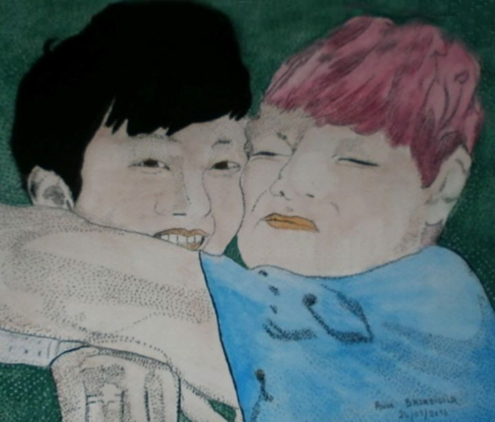 VHOPE DU GROUPE BTS - Painting ©2016 by ANNE BAZABIDILA -                                                            Figurative Art, Paper, Music, groupe, coréen, danseur, chanteur