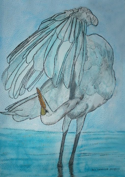 AIGRETTE - Painting ©2016 by ANNE BAZABIDILA -                                                            Figurative Art, Paper, Animals, aigrette