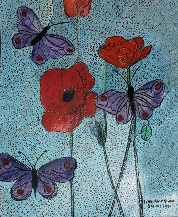 KIND POPPIES - ©  coquelicots, papillons Online Artworks