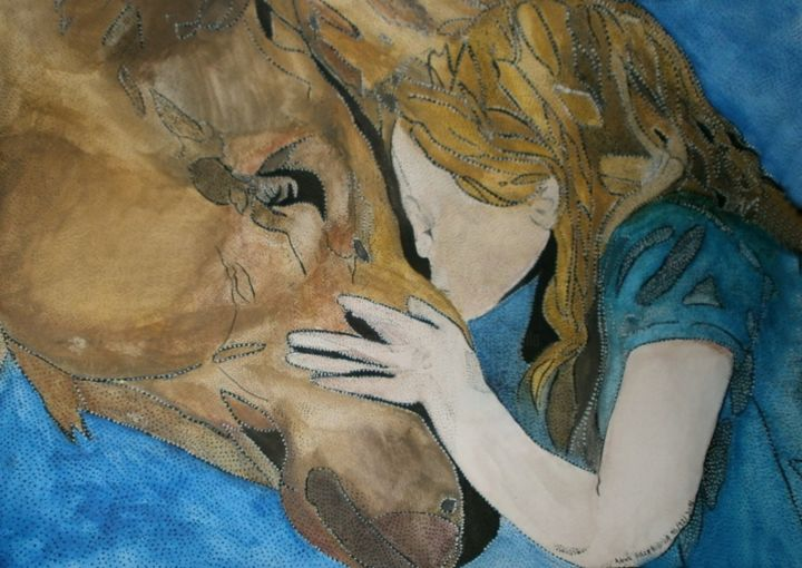 TENDERNESS OF A GIRL A HORSE - Painting,  48x36 cm ©2016 by ANNE BAZABIDILA -                                            Figurative Art, Animals, fille, cheval