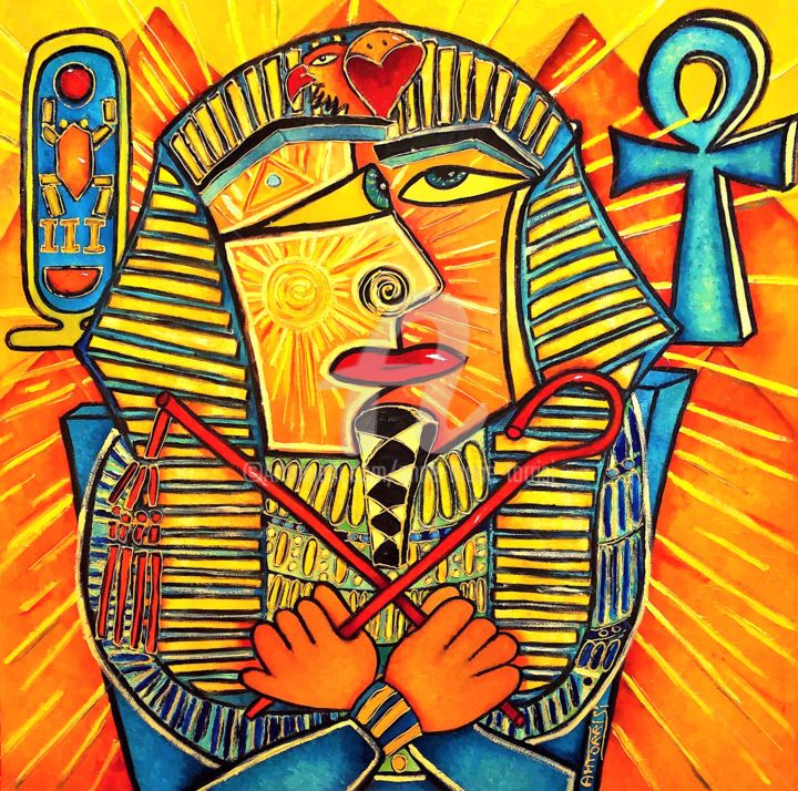 PHARAON - Painting,  39.4x39.4 in, ©2018 by Anne Marie Torrisi -                                                                                                                                                                                                                                                                                                                                                                                                          Figurative, figurative-594, Men, Landscape, pharaon, egypte, piramides, soleil